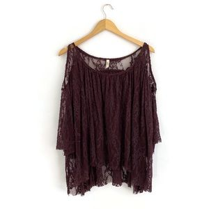 Free People Lace Cold Shoulder Plum Tunic Small P